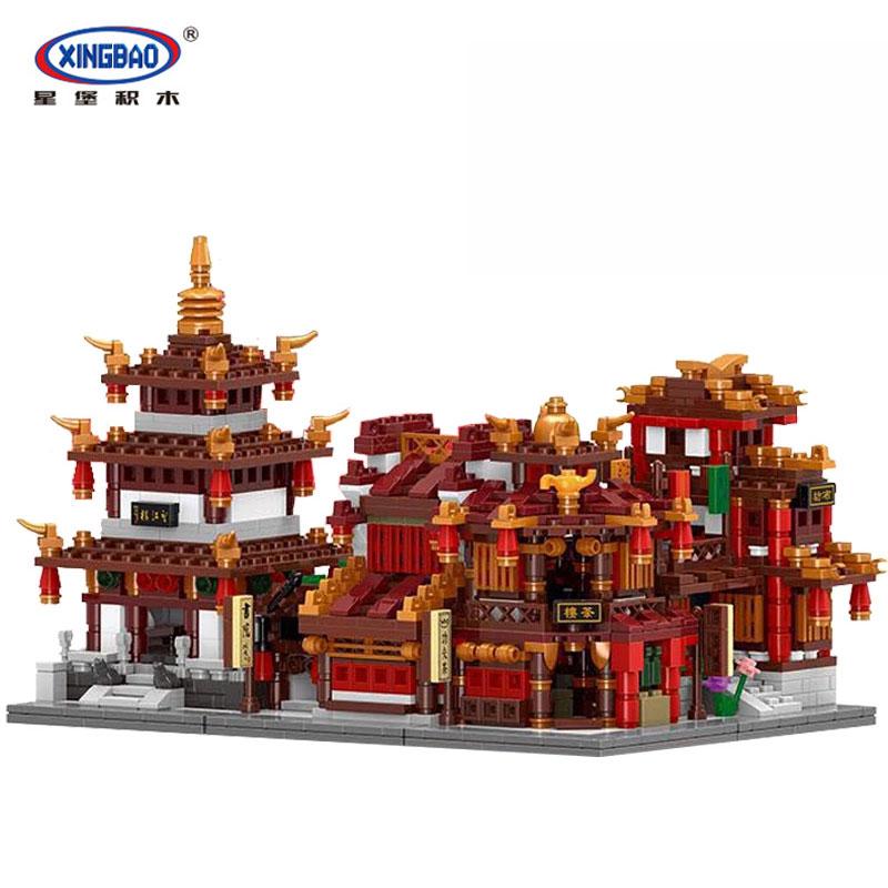 1502Pcs XingBao 01102 Zhong Hua Street Series 4 in 1 The Teahouse Library Cloth House Wangjiang Tower Set Building Blocks toys кофеварка redmond rсm 1502