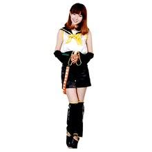 купить Vocaloid Kagamine Len Cosplay Costume uniforms for Women Gift tops+pant+belt+Neckerchief+Sleeve+legguard дешево
