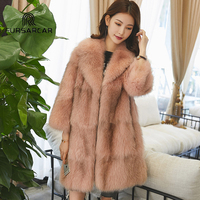 Мех животных Sarcar Роскошные зимние Для женщин натуральным лисьим Мех животных пальто плотного натурального Мех животных женский пиджак Нов
