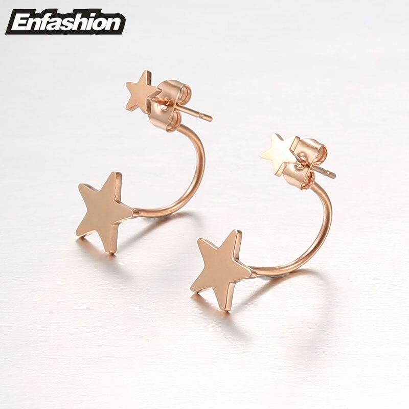 Enfashion Schmuck Doppel Stern Ohrringe Schwarz Ohrstecker Rose Gold - Modeschmuck - Foto 3