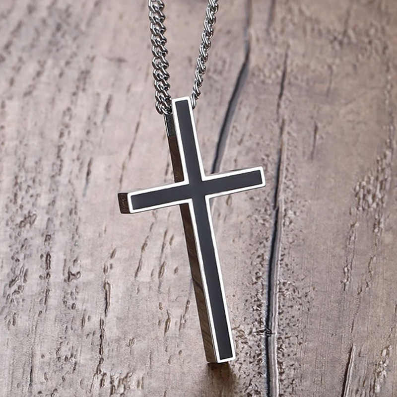 "Meaeguet Classic Black Jesus Cross Necklaces Pendants For Men Stainless Steel Prayer Crucifix  Male Chocker Chain 24"" Gifts"