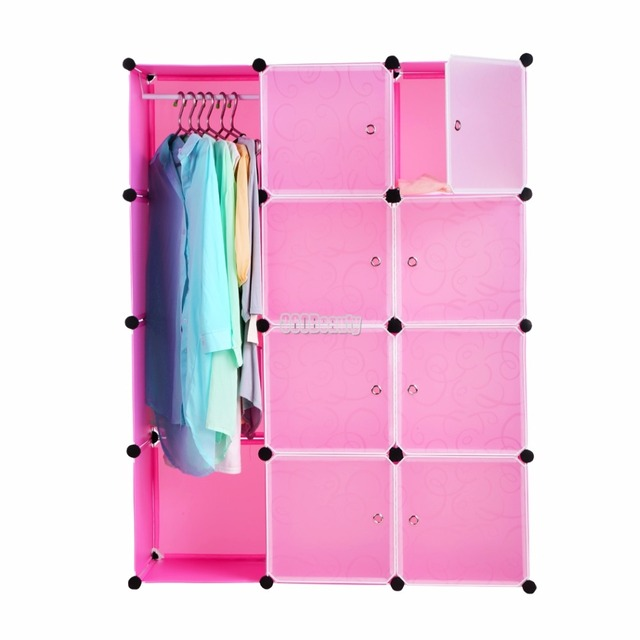 Fashion DIY 12 Cube Cupboard Cabinet Armoires Wardrobe Organizer Storage Bedroom Furniture