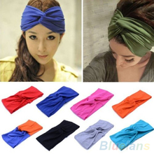 Hot Women's  Elastic Turban Twisted Hair Band Head  Sweatband Headband 2MCX 3FP5 7EDM