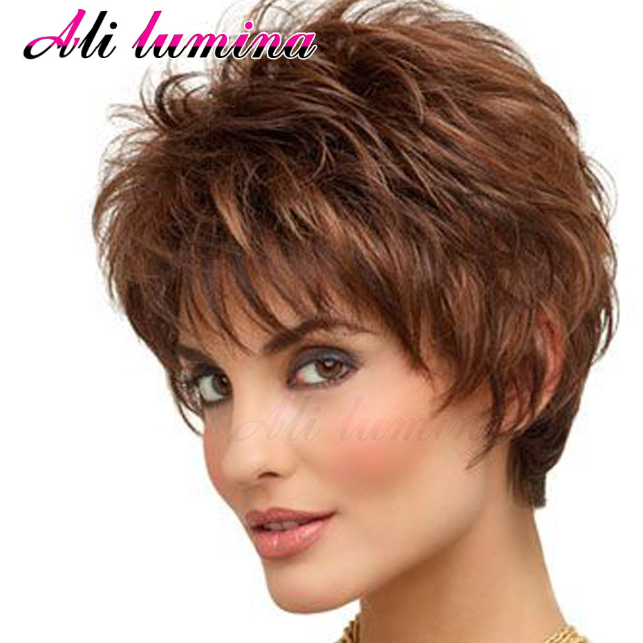 Pixie Cut Synthetic Wigs Free Shipping Short Hair Wavy