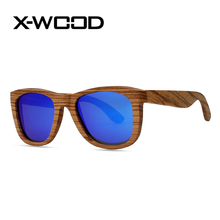 X-WOOD New Fashion Classical Zebra Wood Frame Polarized Sunglasses  Men Women Sunglass Purple Sun Glass Lunette De Soleil Femme