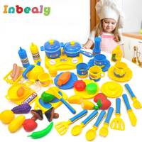 46pcs Miniature Kitchen Toys For Girl Vegetables Cut Food Eating Cooking Set Pot Pan Goods For