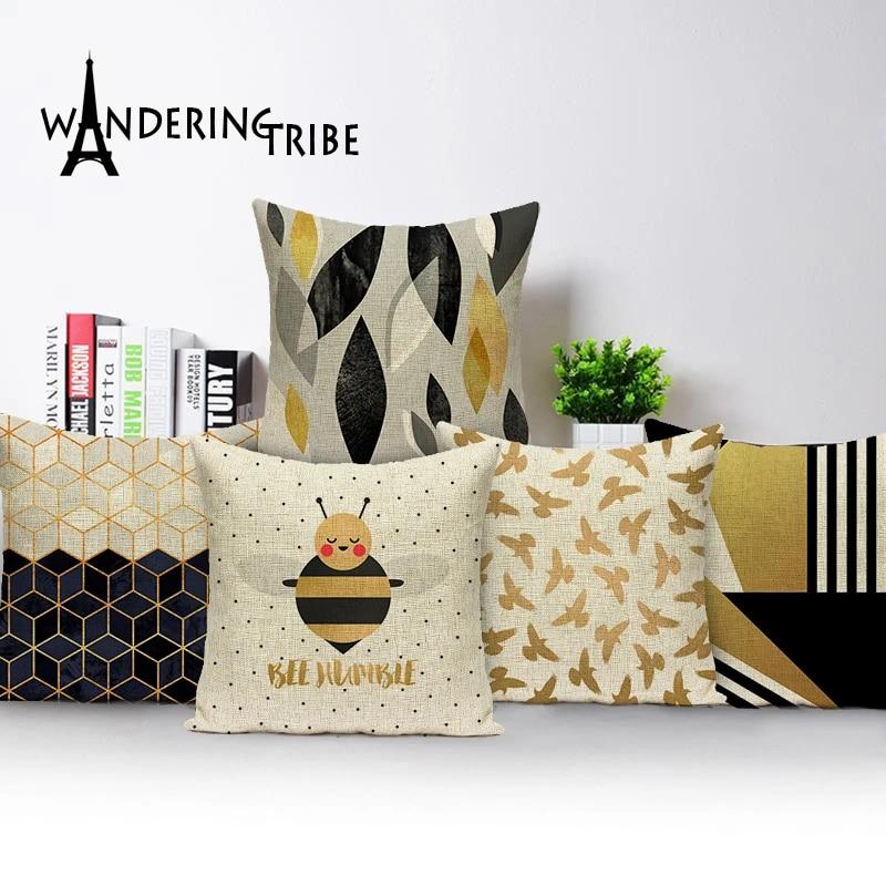 geometric cushion covers stripe colorful cushions home sofa decor custom linen pillow cover bee cushion cover outdoor cushions