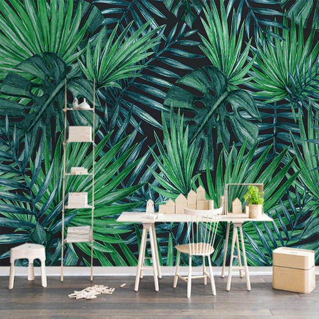 Custom Mural Wallpaper Modern Simple Tropical Plant Photo Wall Murals Cafe Dining  Room Living Room TV