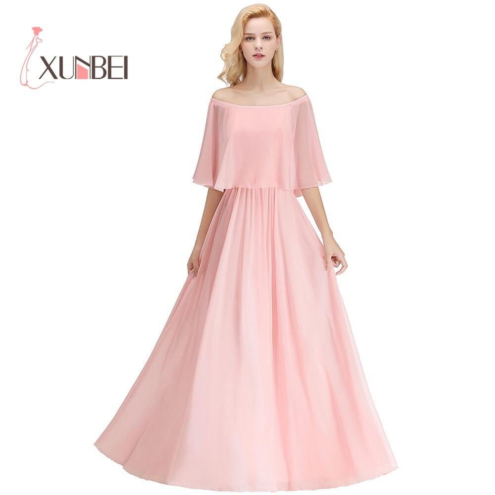 34 couleurs personnalisées hors de l'épaule châle une ligne en mousseline de soie Bridemaid robes 2019 robes de bal robes de soirée formelles