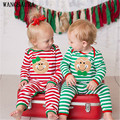 Gêmeos WANGSAURA Xmas Bebê Recém-nascido Da Menina do Menino Romper Algodão Bonito Sorriso Rosto Listrado Roupa Playsuit Roupas de Presente Verde Vermelho