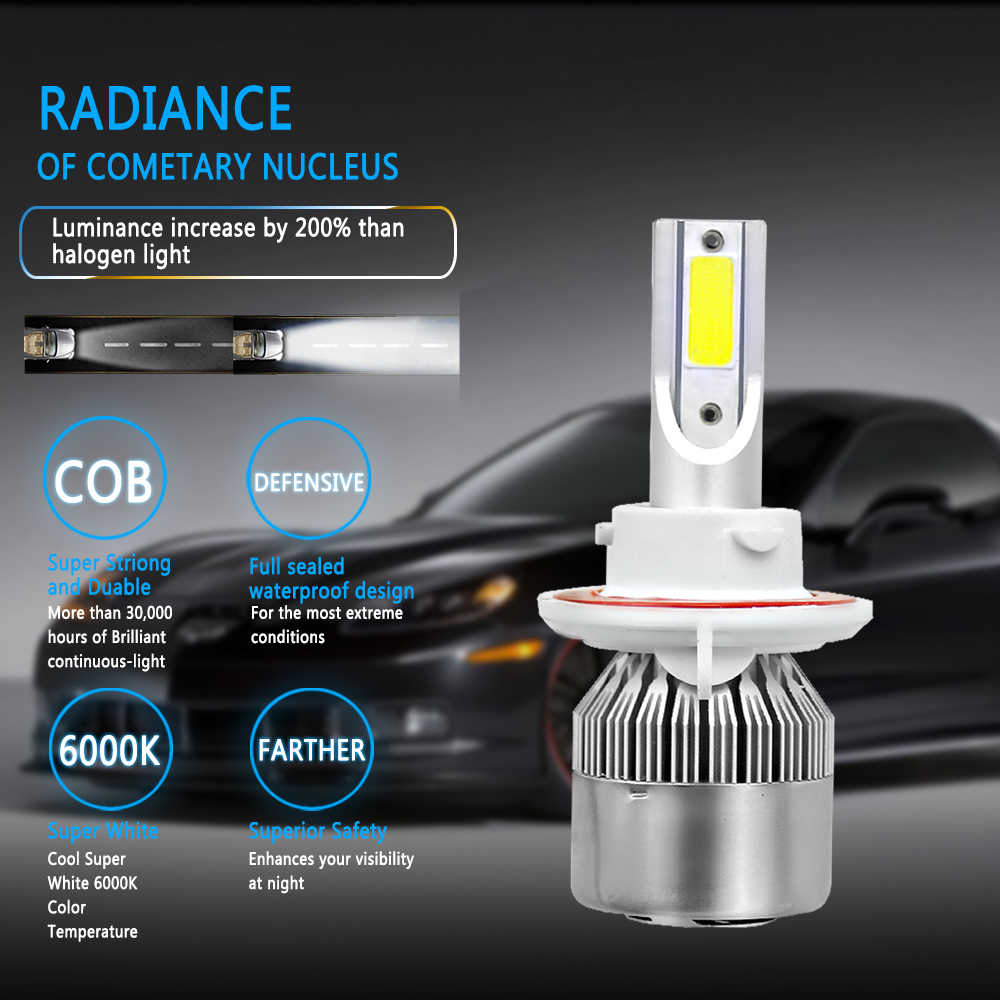 LED headlamps H4 H7 H3 H11 Auto Headlight 12V 6000K 8000K Lamp 9003 9005 HB3 9006 HB4 H8 H13 light Bulb COB chip