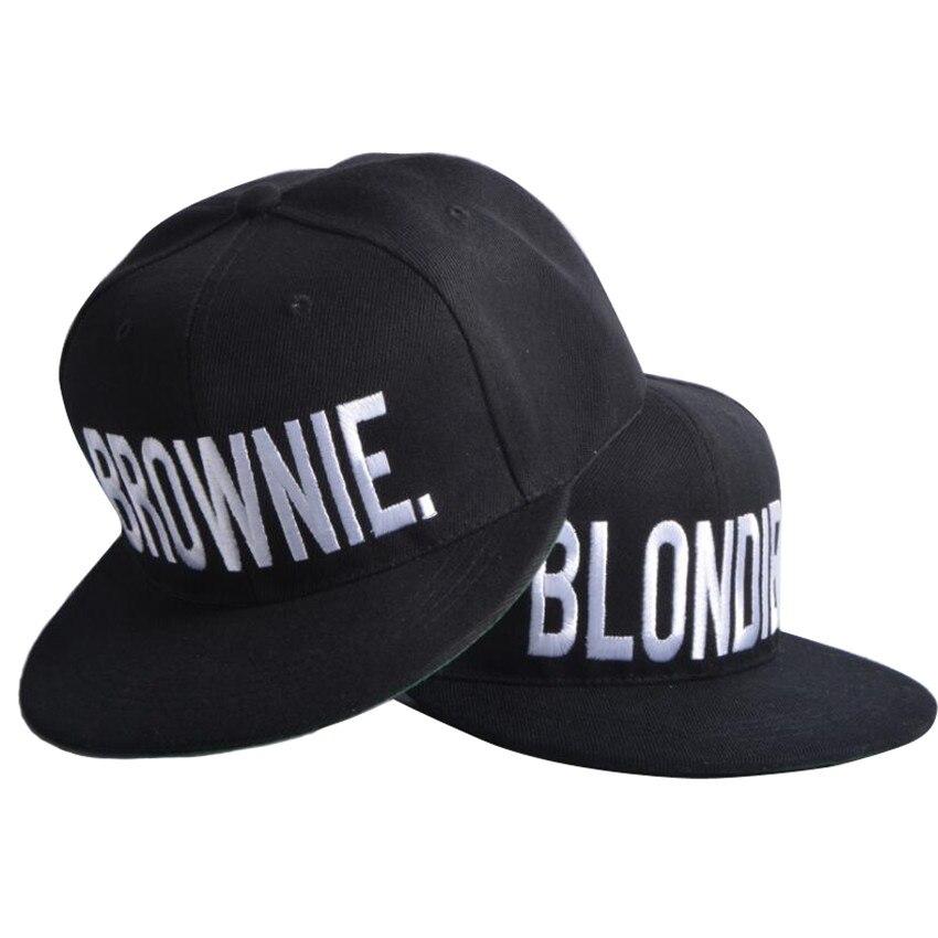 Prix pour BLONDIE BROWNIE Haute Qualité Broderie Snapback Chapeaux Coton Femmes Cadeaux Casquettes de Baseball Hip-Hop Réglable 2 pièces chaque combo