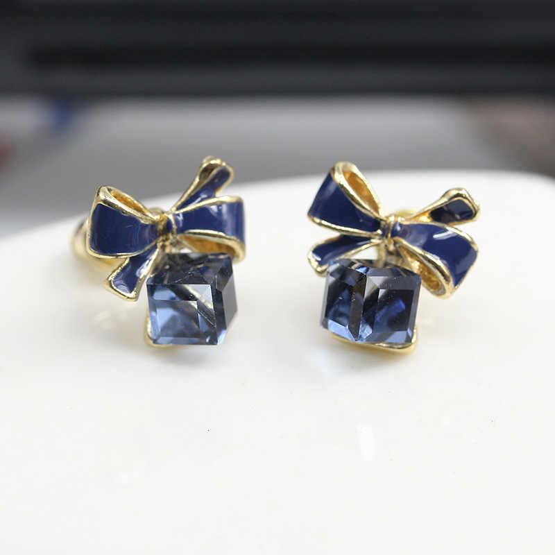 Bowknot ต่างหู Cube คริสตัลสตั๊ดต่างหูสำหรับผู้หญิง Brincos ต่างหูป้องกันโรคภูมิแพ้ต่างหู Oorbellen ประณีตเครื่องประดับ