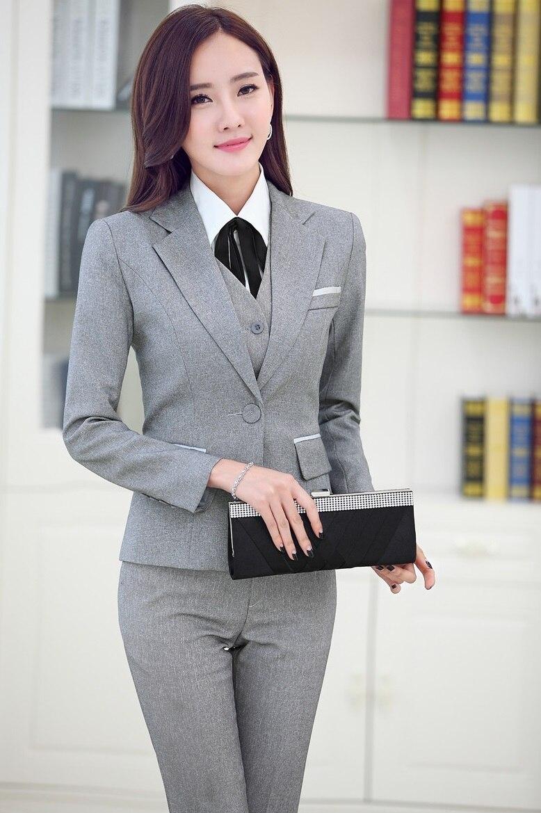 Plus Size 4XL Professional Business Women Suits Jackets And Pants Formal Uniform Design Autumn Winter Pantsuits Trousers Sets