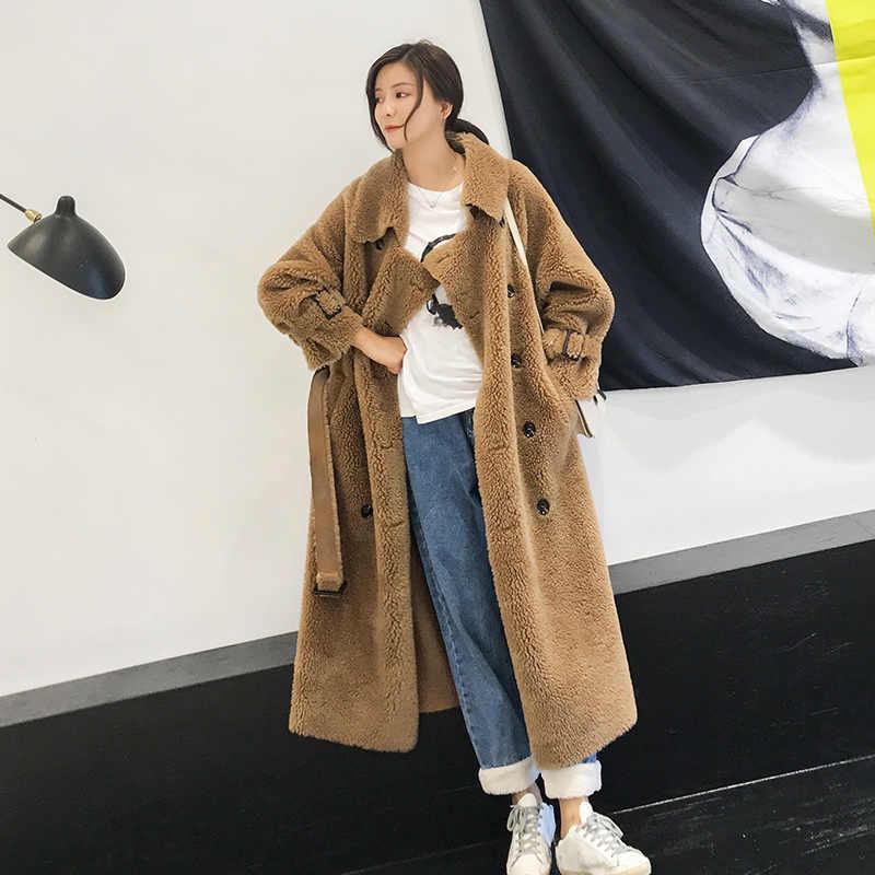 Frauen 100% Schafe wolle Mäntel Lange 2019 Mode Winter Schafe wolle Weibliche Jacken Lose Große Code Mantel Starke Warme Pelz mehrere