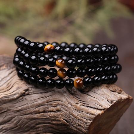 Bracelet Mala Oeil de Tigre avec 108 perles en Onyx noir