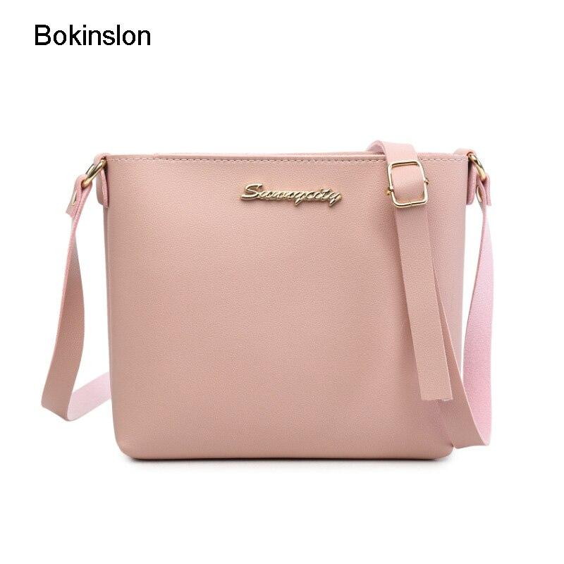 Bokinslon Shoulder Woman Bags New Simple PU Leather Female Crossbody Bag Fashion Popular Ladies Handbags Bags