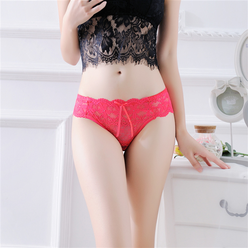 Lace Sexy Women Briefs Transparent Womens Panties Underwear Lingerie Female Breathable Seamless Panties Bow-knot Cute Underwear (15)