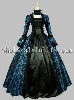 Gothic Blue and Black Floral Printing 18th Century Marie Antoinette Dress Ball Gown Reenactment Theatre Clothing