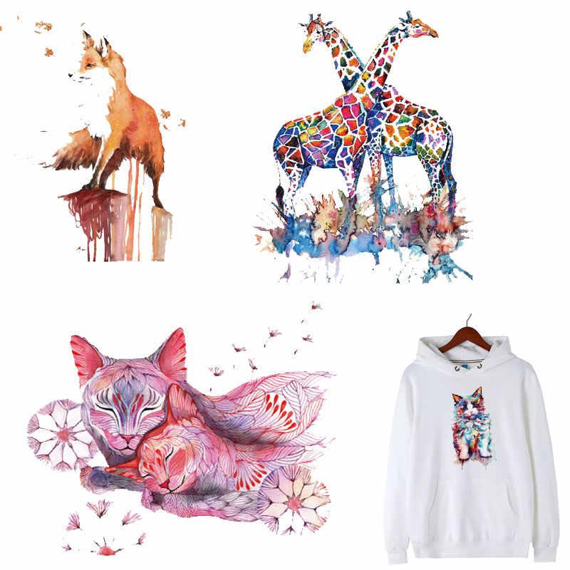 Kolorowe śliczne Fox ptasie łaty aplikacje odzieżowe ciepło, Transfer topliwy odzież naklejki Decor odznaki zmywalne DIY Top E