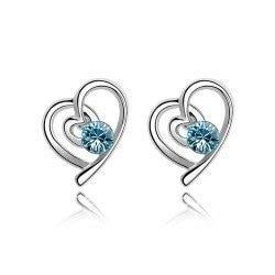 New ~HOT~  The new Korean ornaments Austrian crystal earrings women earrings heart go hand in hand lover birthday gift   B2-2-92
