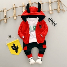 Baby Boys Tracksuits Cotton T-shirt + Casual Trousers + Cartoon Hooded Jacket Coat Girls Clothing Sets Kids 3Pcs Suits