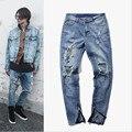 Temor de deus dos homens novos Calça Jeans Roupas Masculinas Kanye Buraco Quebrado Calças Demin Calças Tamanho Grande Calça Jeans Motociclista Meth Rasgado calças de Brim Dos Homens homens