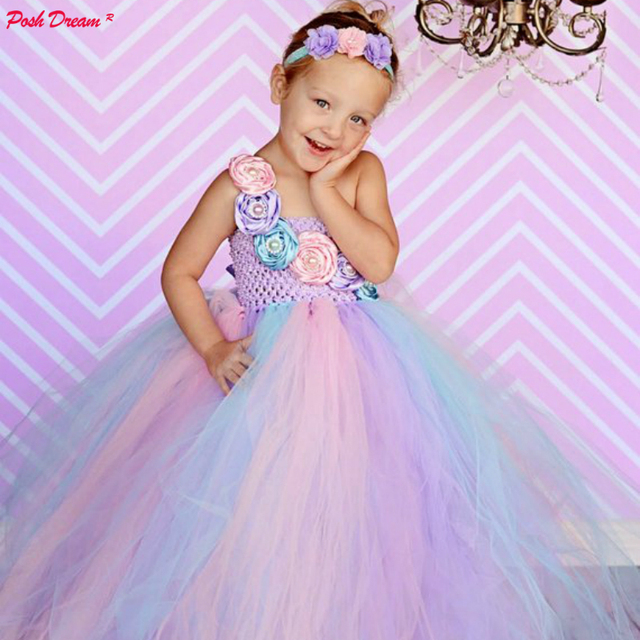 703b78e366a4 POSH Dream Pink Blue Flower Kids Girls Birthday Party Dresses Pastel  Couture Wedding Flower Girl Tutu Dress Kids Girls Clothes