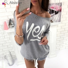 Women Long Sleeve Basic T Shirt Yes Letter Print Off Shoulder Sexy Tees font b Slim