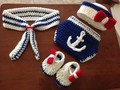 Baby Crochet Navy Sailor Costume Set Knitted Infant Newborn Photo Photography Prop Hat with Anchor Diaper Cover 4pcs sets