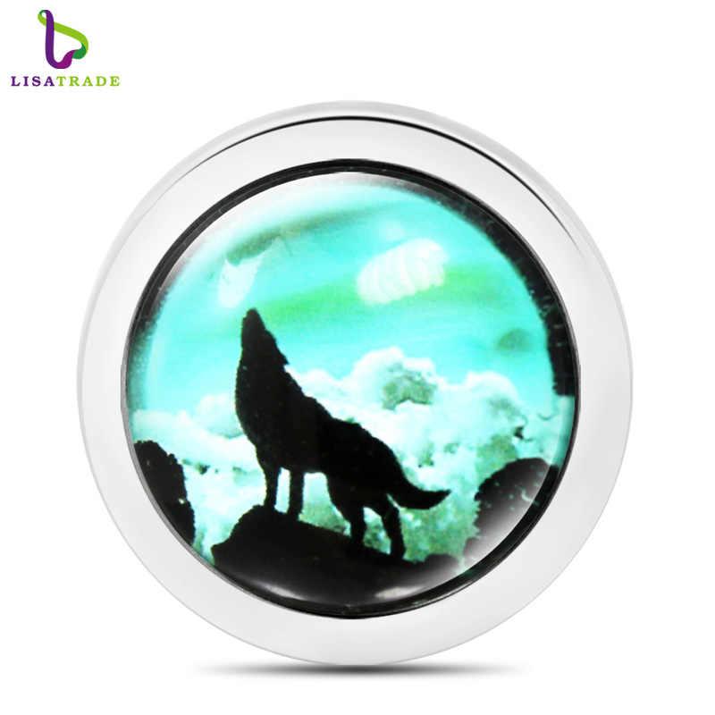 2017 New Wolf Glass Đồng Tiền charms coin phù hợp cho moneda pendant Coin khung vòng cổ Mentun mề đay Mặt Dây Chuyền