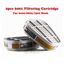2 pièces/ensemble 6001 Remplacer Cartouche Filtrante Filtre Boîte Pour Respirateur Chimique Gaz Poussière 6200/6800/7502 Masque Accessoires