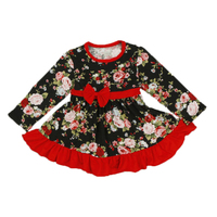 Christmas Baby Girls Dress Floral Long Sleeve Fall Girls Dress Ruffle Western Girls Clothes Fashion Girls
