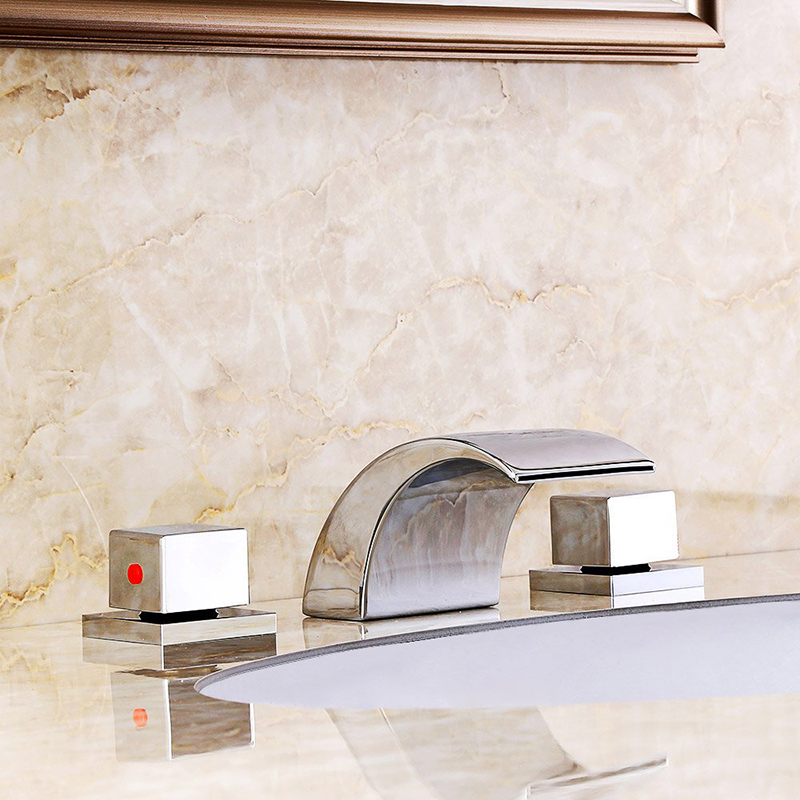 Quyanre Chrome 3pcs LED Waterfall Basin Faucet Dual Handles Mixer Tap Waterfall Spout Deck Mount Bathroom Faucet Torneira lavabo