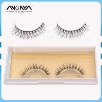 1 Pair Handmake Human Hair Long Natural False Eyelashes 13mm Black Soft Fake Eye Lashes Makeup