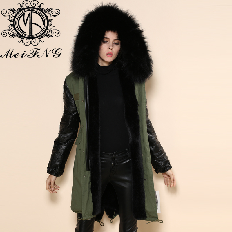 Women parka outwear warm sheepskin sleeve army green coat fashion ...