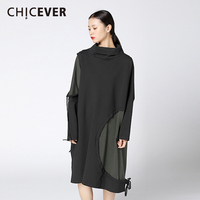 CHICEVER Irregular Hit Colors Dress Female Tunic Patchwork Pullovers Black Loose Big Size Women Dresses Clothes