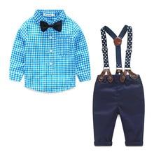 2016 новый синий плед детская одежда мальчика рубашки с луком + повседневные брюки с бесплатный ремень мальчик модная одежда набор новорожденных одежда(China (Mainland))