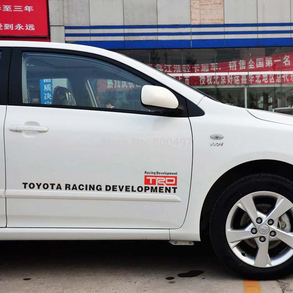 Car door sticker design - 2 X Car Styling Trd Stickers Auto Door Decoration Accessories Car Decals For Toyota Rav4 Crown