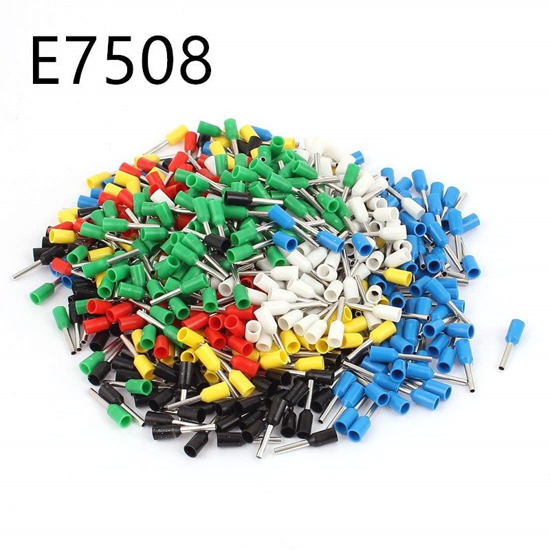 100pcs/lot E7508 Bootlace cooper Ferrules kit set Wire Copper Crimp Connector Insulated Cord Pin End Terminal джилекс циркуль 32 40