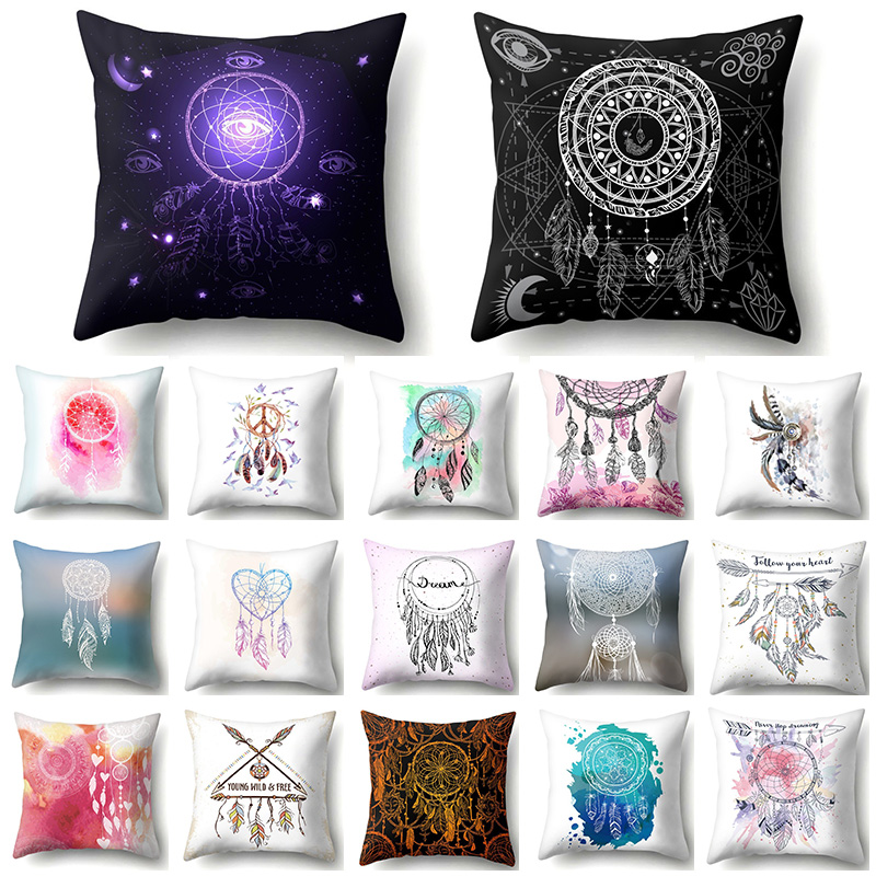Boho Indain Pillow Cushion Cover Feather Dreamcatcher Decoration Sofa Car Cushions Home Decor Pillowcase 45*45 40595