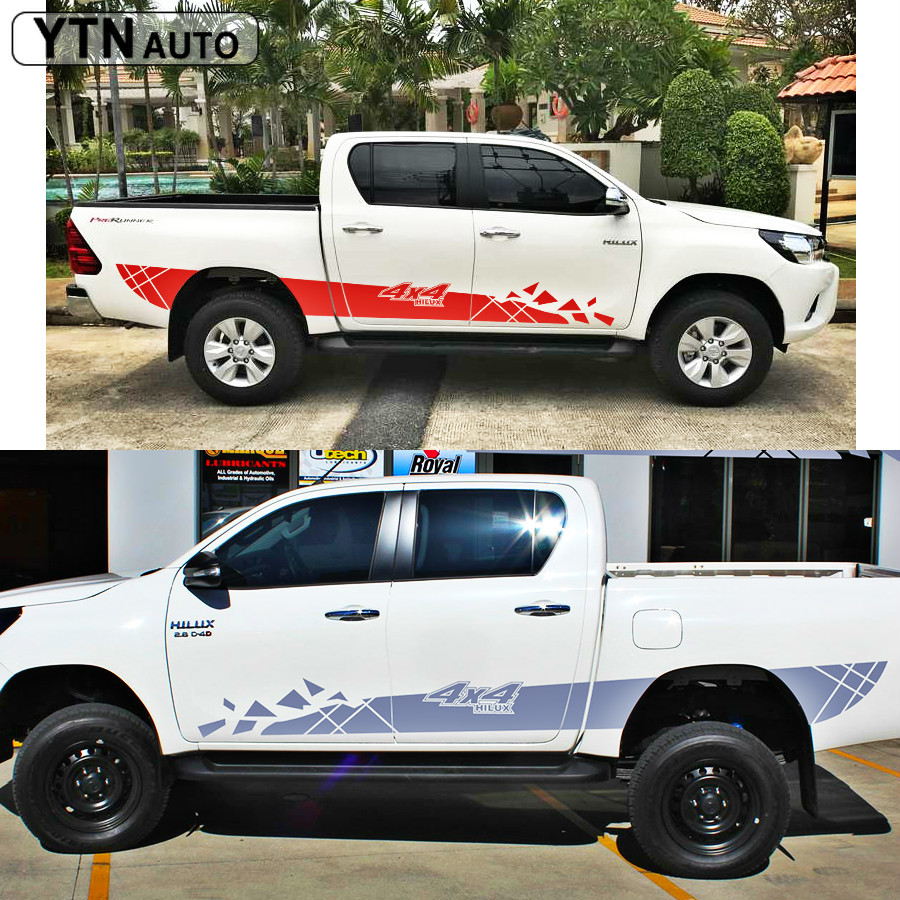 car modified accessories stickers 2PC cool side door 4X4 stripe graphic Vinyl protect decal custom FOR TOYOTA HILUX VIGO REVO in Car Stickers from Automobiles Motorcycles