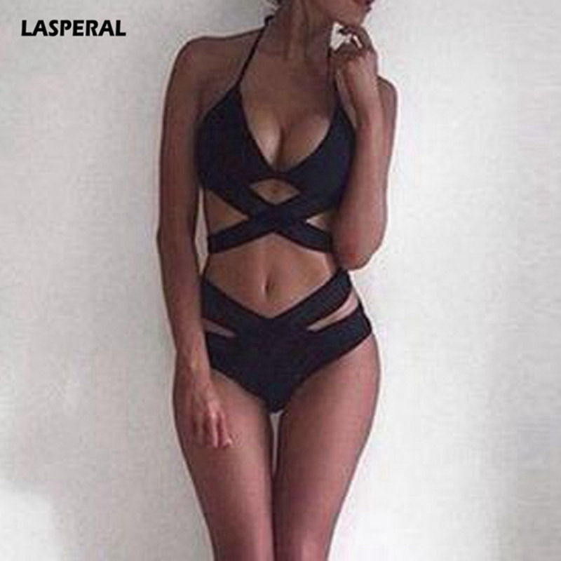 LASPERAL Solid Sexy Bikini Set Women 2018 Halter Swimwear Cross Bandage Swimsuit Push Up Beach Wear Bathing Suit Maillot De Bain cupshe heated love in desert cross back bikini set women summer sexy swimsuit ladies beach bathing suit swimwear