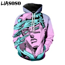 LIASOSO Men Hooded 3D Print Women Hoodies Tops Anime JoJo Bizarre Adventure Hoodie Mens Hoody Harajuku Sportswear B051 08