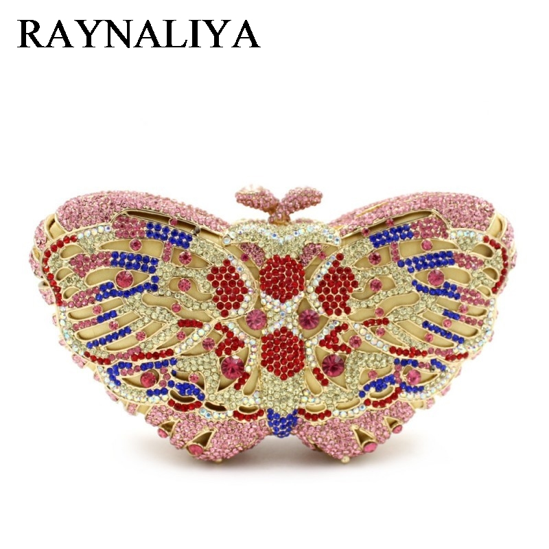 Butterfly Rhinestone Clutch Bag Luxury Crystal Evening Prom Bags Ladies Wedding Bridal Party Purse For Feast ZH-B0230 women luxury rhinestone clutch evening handbag ladies crystal wedding purses dinner party bag bird flower purse zh a0296