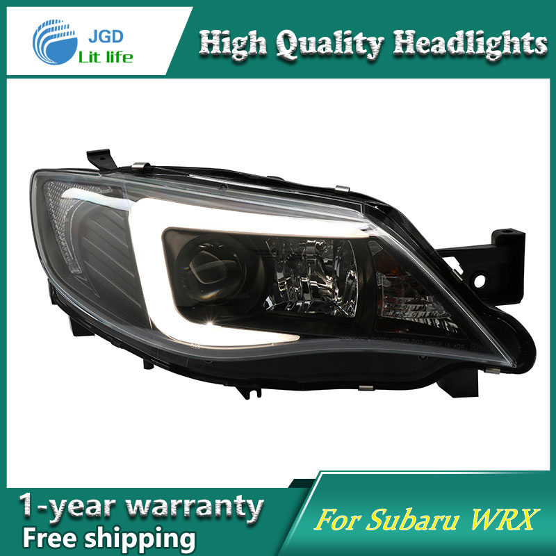 Car Styling Head Lamp case for Subaru WRX WRX STI 2009-2012 Headlights LED Headlight DRL Lens Double Beam Bi-Xenon HID hireno headlamp for 2016 hyundai elantra headlight assembly led drl angel lens double beam hid xenon 2pcs