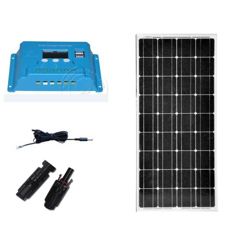 Kit Panel Solar 12v 100w Solar LCD Controller 12v/24v 10A 12v Battery Charger Car Caravan Camp Motorhome Boats Yachts