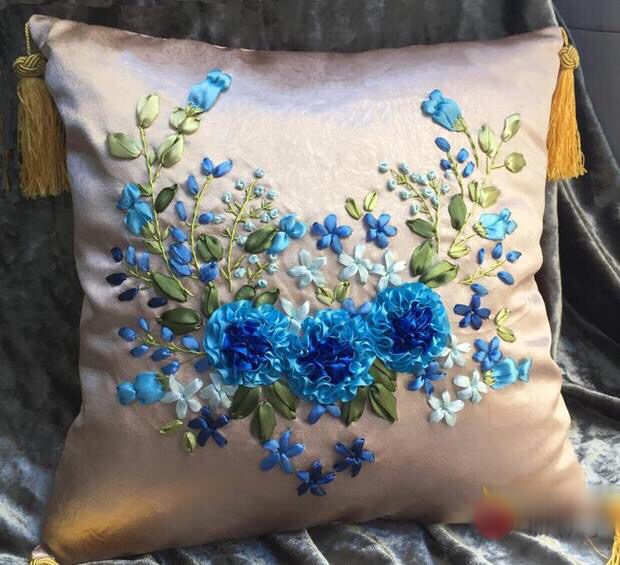 1pcs 40x40cm blue red flower Ribbon embroidery kit cushion pillow cover set handcraft DIY handmade needlework art home decor