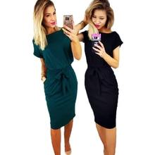 7910deda005 Women Spring Vintage Knee-Length dresses O-neck Short Sleeve Green Black  dress Lady