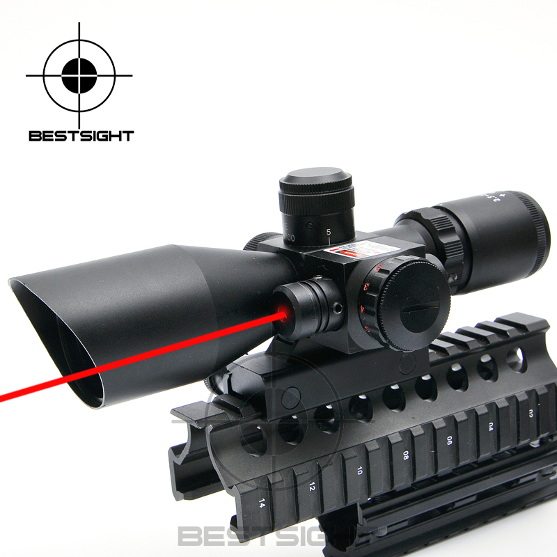 Tactical Laser Scope 2.5-10x40EG Rifle Scope Laser Green Sight Reflex Red & Green Illuminated Optics Riflescope For Hunting Gear